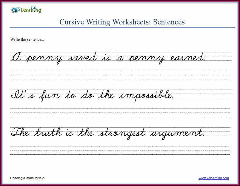 6th Grade Cursive Writing Worksheets Pdf