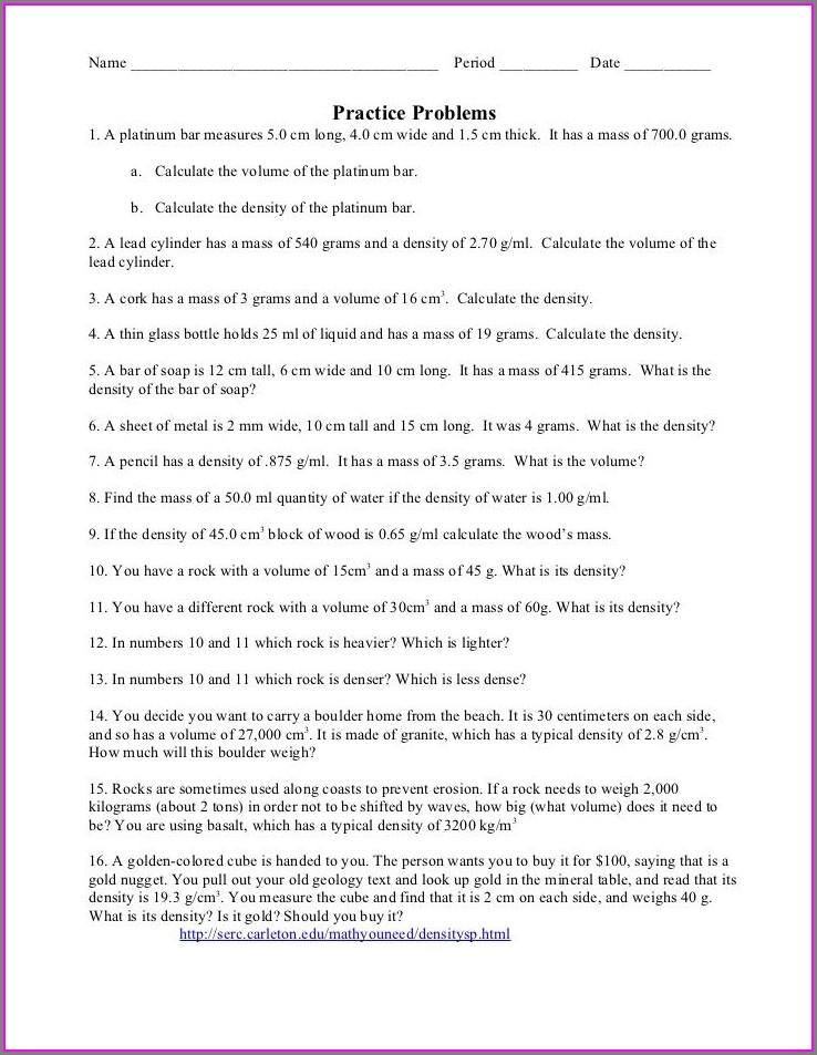 6th Grade Density Worksheet Middle School