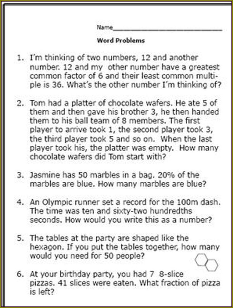 6th Grade Maths Word Problems Year 6 Worksheets