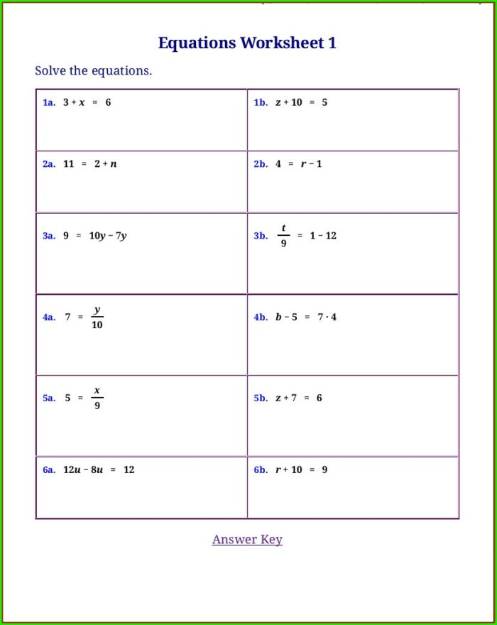 6th Grade Simple Linear Equations Worksheet