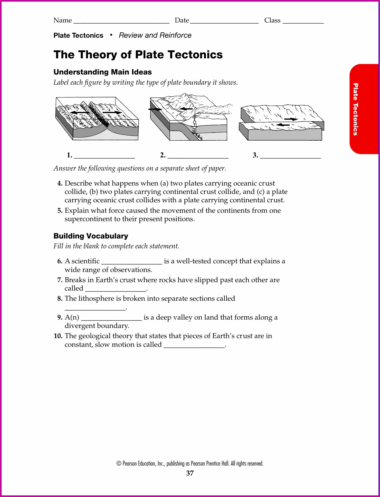 6th Grade Theory Of Plate Tectonics Worksheet Answers