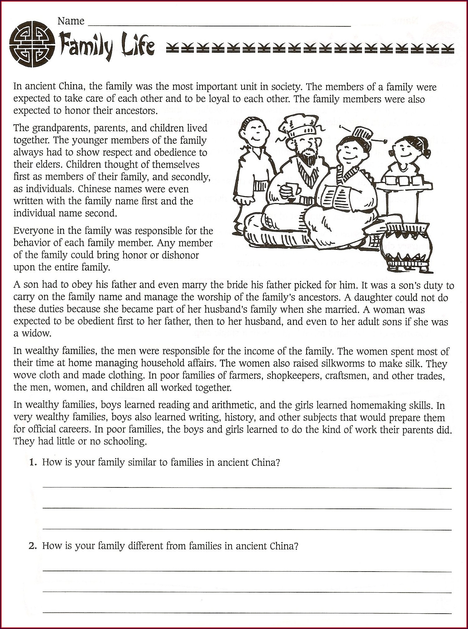 6th Grade World History Worksheets