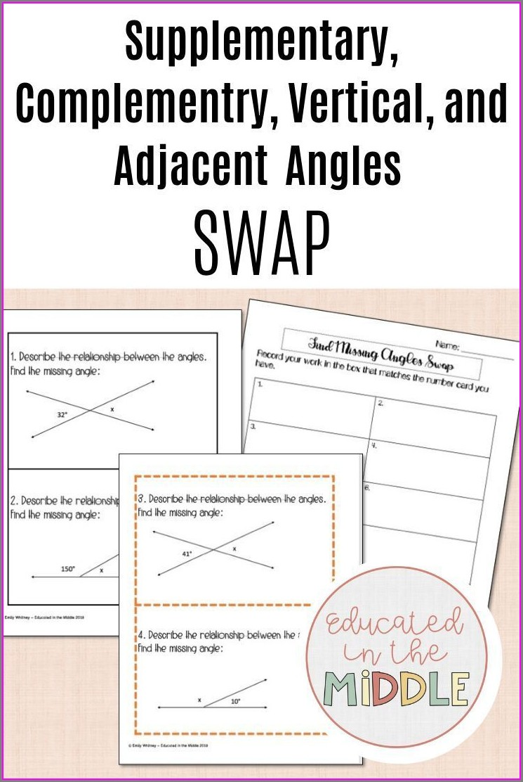 7th Grade Adjacent Angles Worksheet