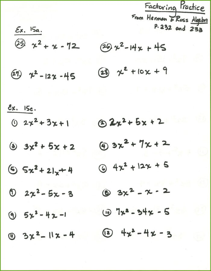 7th Grade Factoring Algebraic Expressions Worksheet