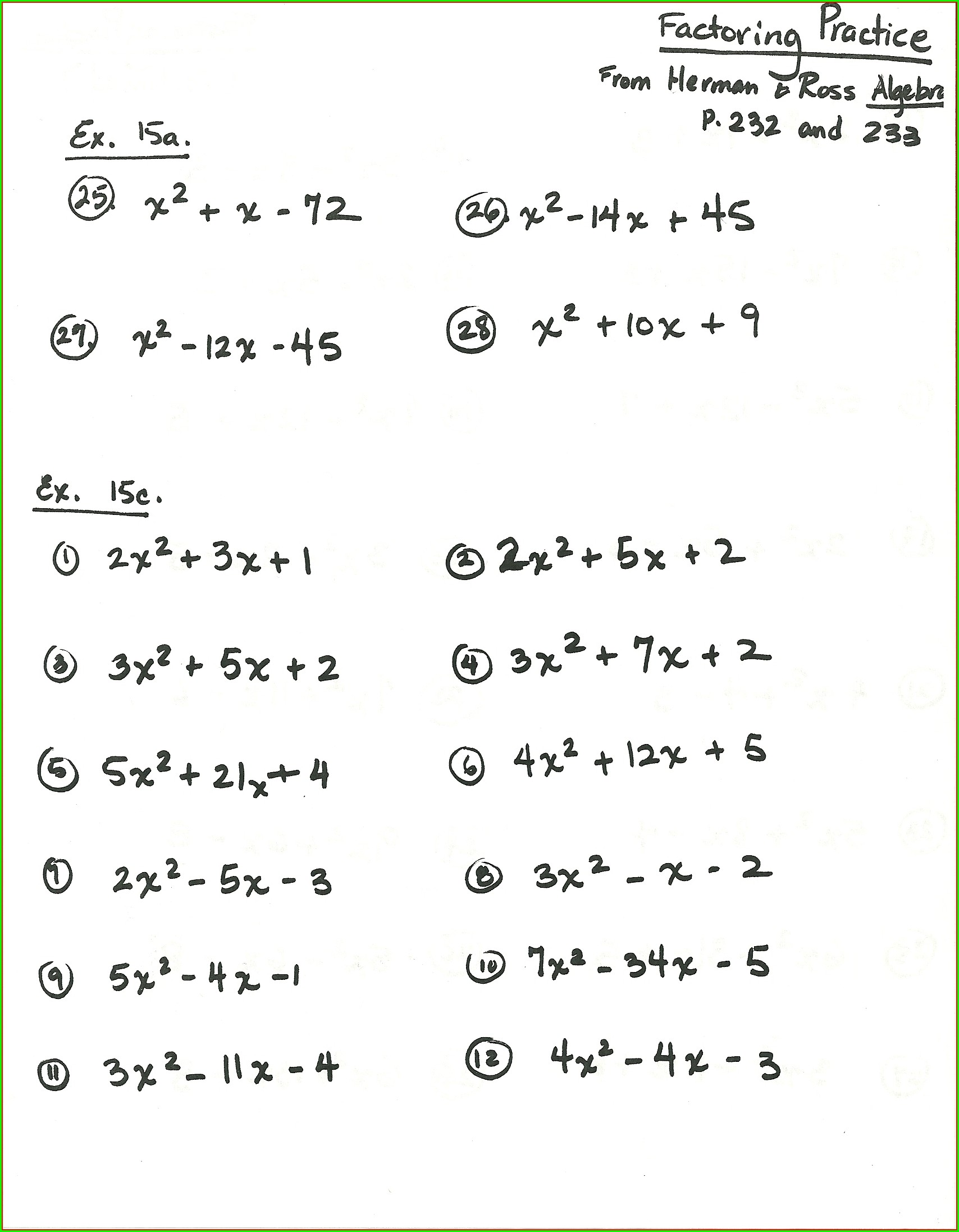 7th Grade Factoring Algebraic Expressions Worksheet