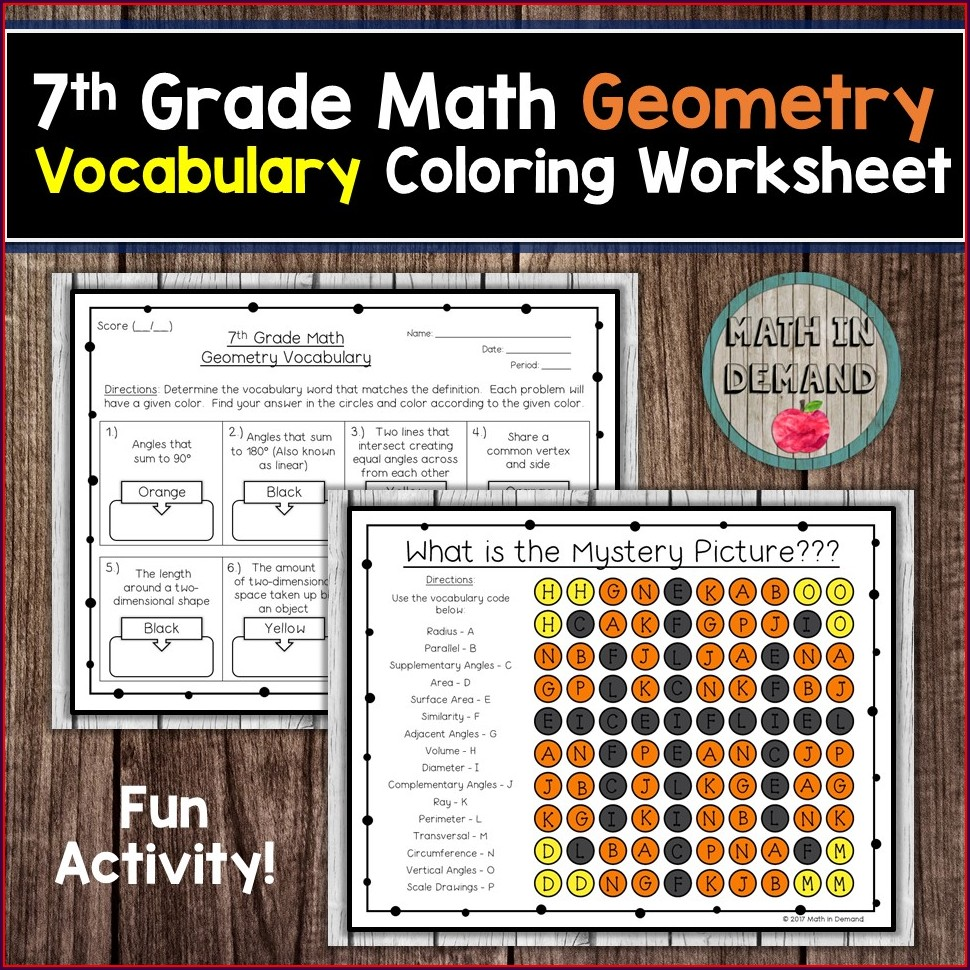 7th Grade Math Vocabulary Worksheets