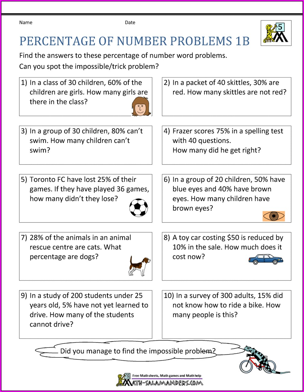 7th Grade Percent Proportion Word Problems Worksheet