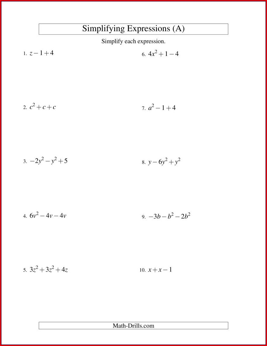 7th Grade Simplifying Algebraic Expressions Worksheet Answer Key