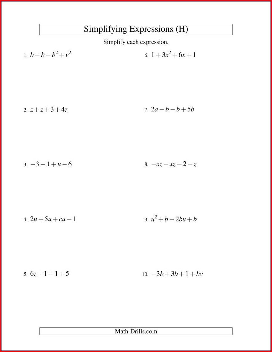 7th Grade Simplifying Algebraic Expressions Worksheet