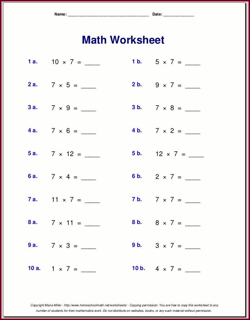 7th Grade Year 7 Algebra Worksheets