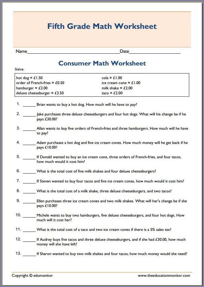 8th Grade Consumer Math Worksheets