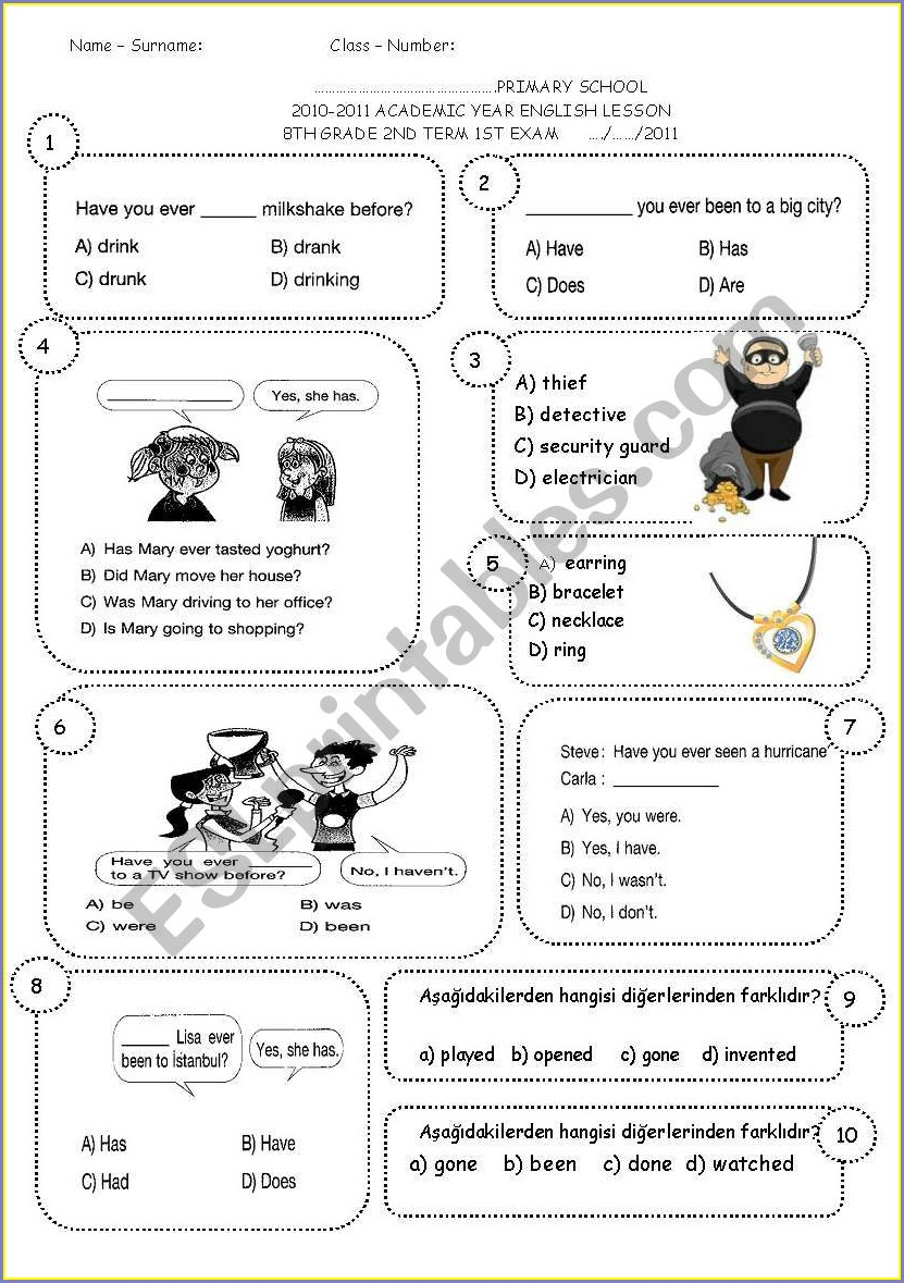 8th Grade English Worksheets Year 8