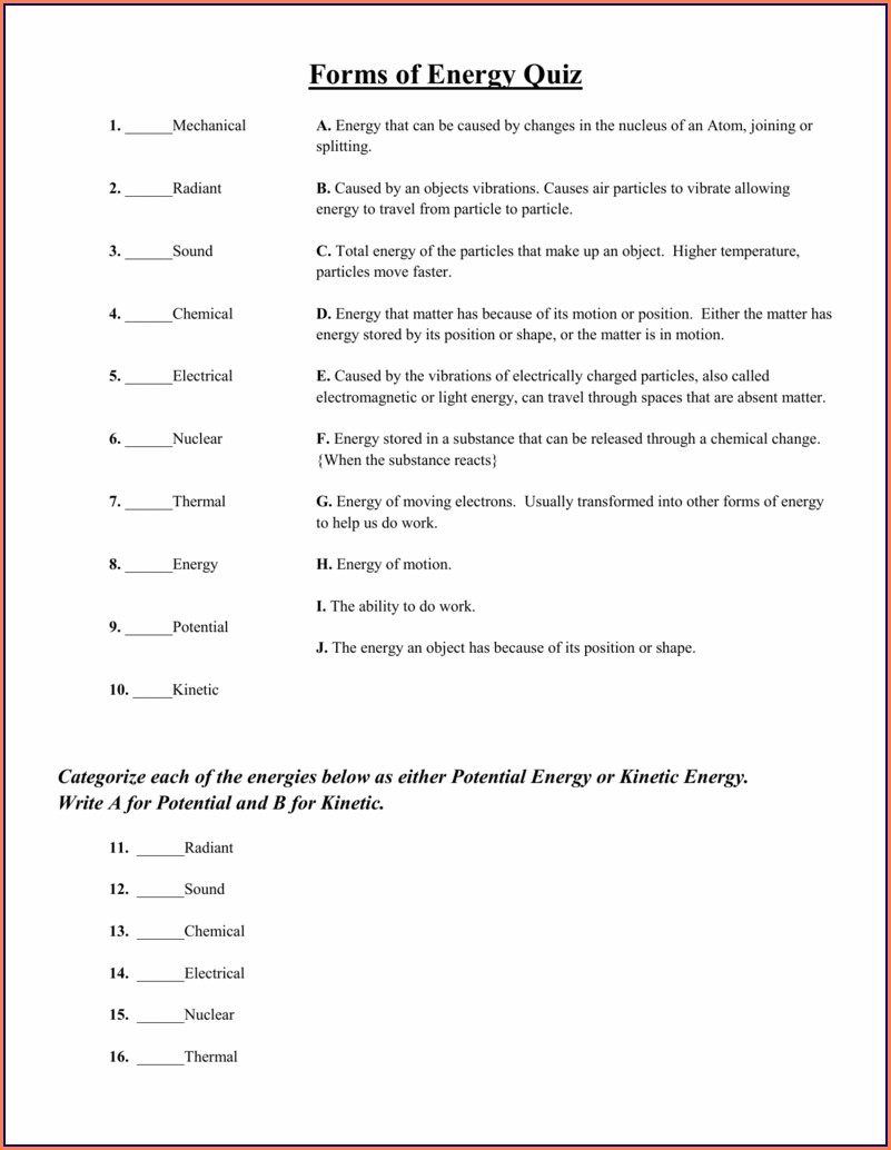 8th Grade Grade 8 Science Worksheets