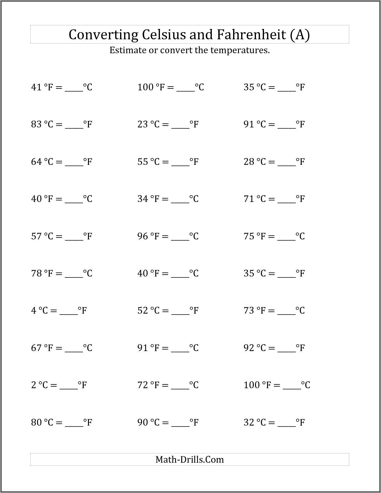 8th Grade Math Conversion Worksheets