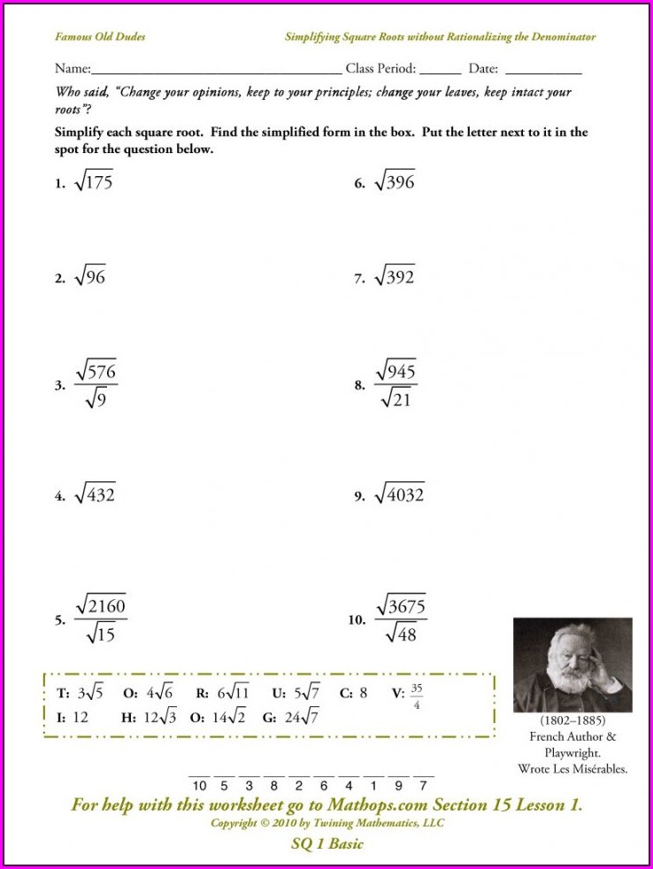 8th Grade Math Worksheet Square Root