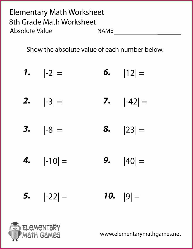 8th Grade Math Worksheets Printable