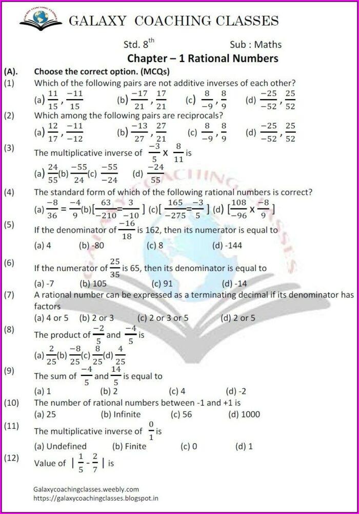 8th Grade Rational Numbers Worksheet Grade 8