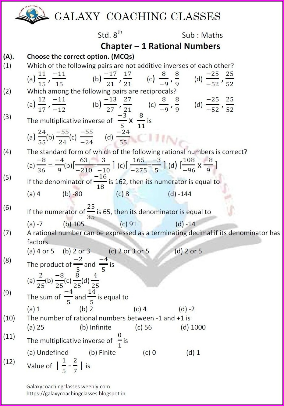 8th Grade Rational Numbers Worksheet Grade 8