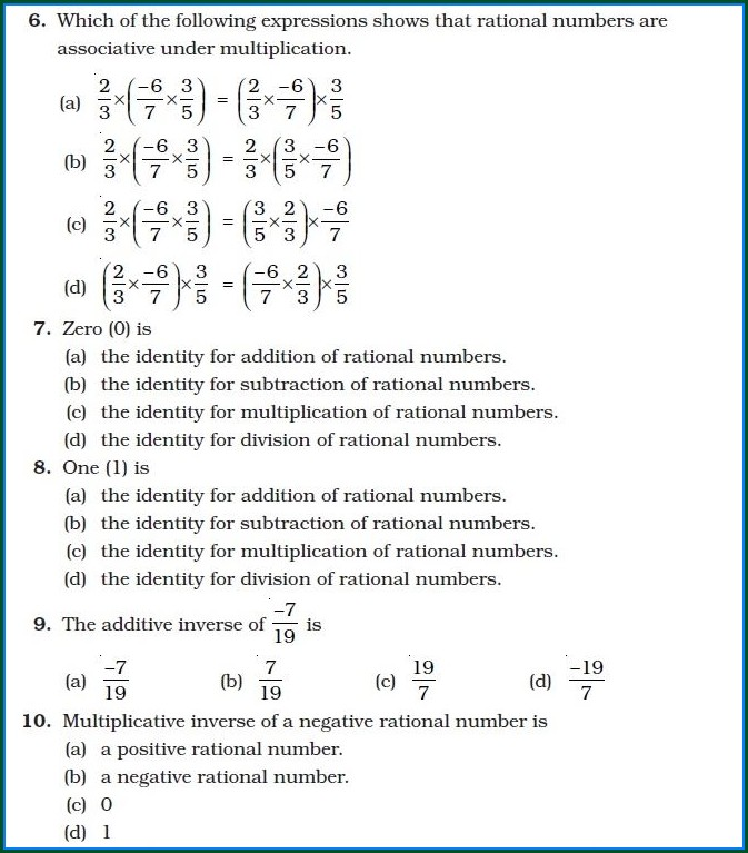 8th Grade Worksheet On Rational Numbers For Class 8