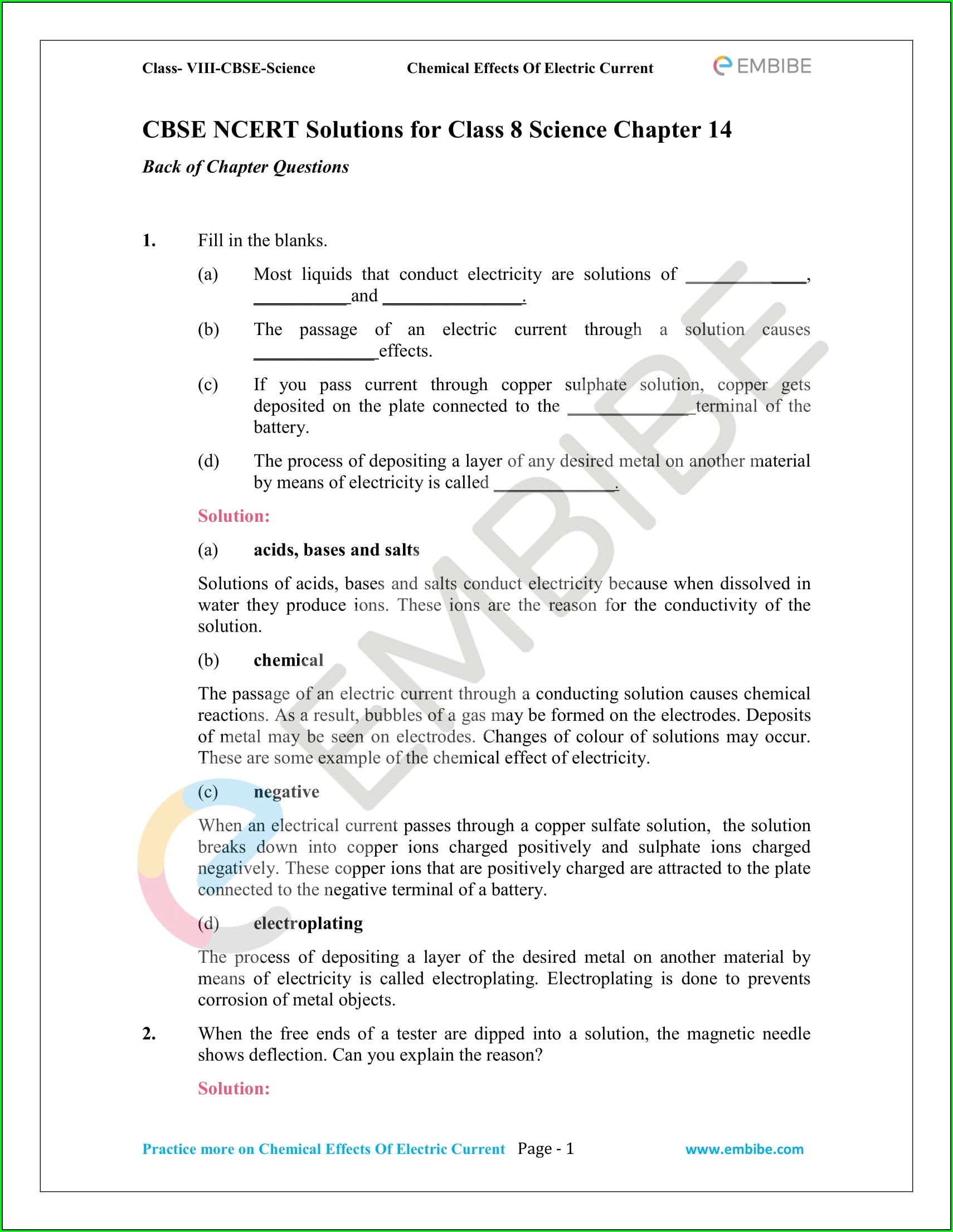 8th Std Worksheet For Class 8 Science Chapter 1