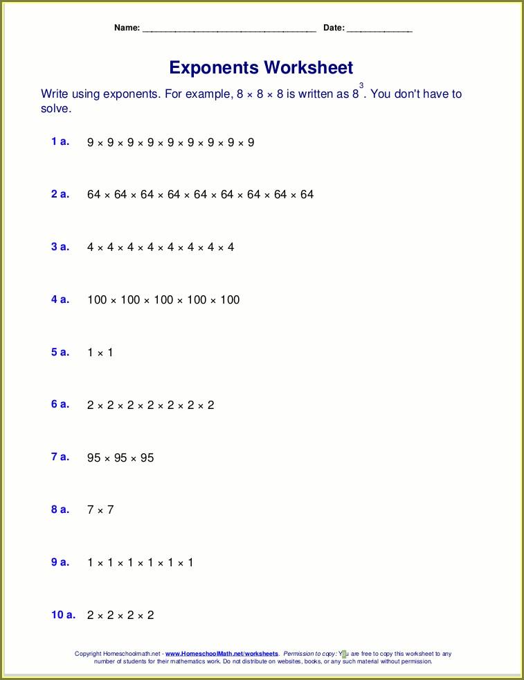 9th Grade Exponents Worksheets Grade 9