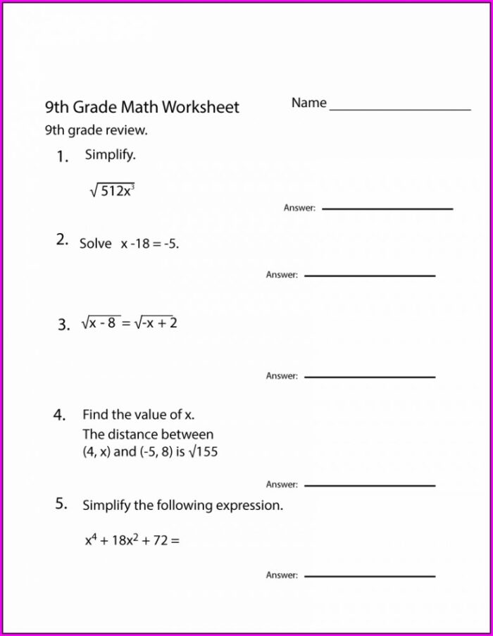 9th Grade Math Worksheet Grade 9