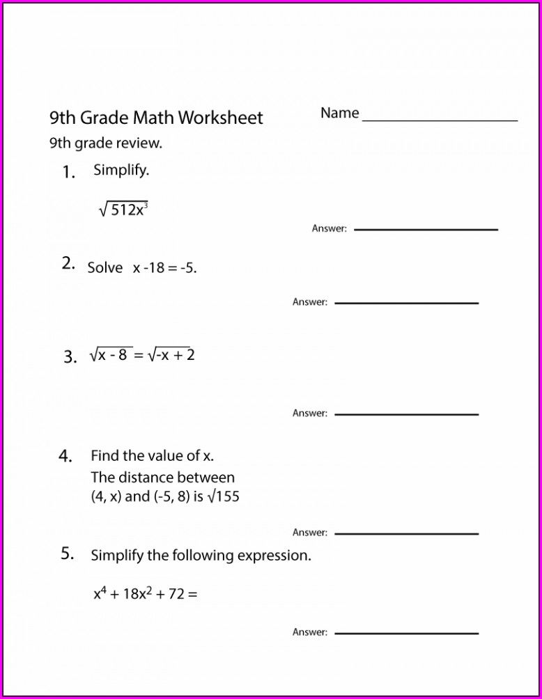 9th Grade Math Worksheet Grade 9