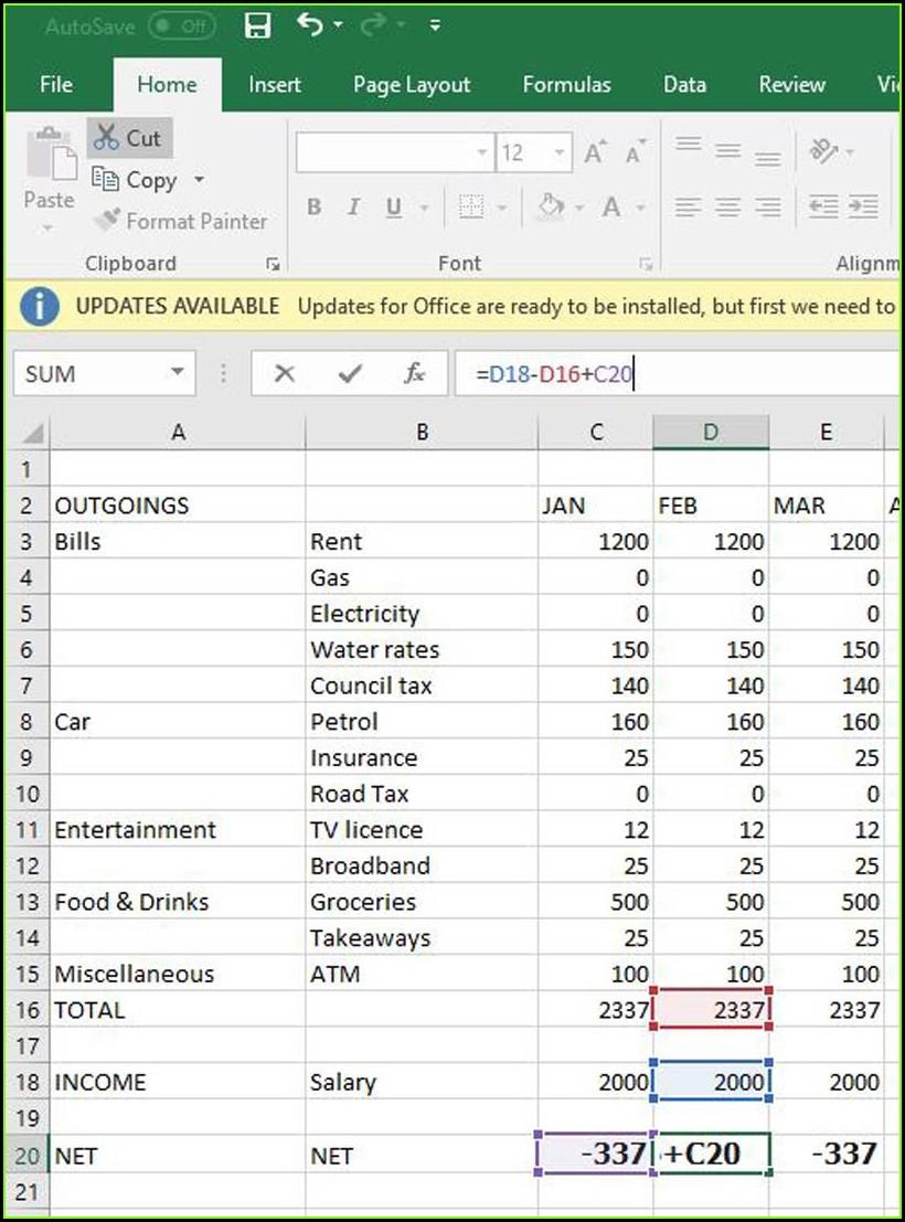 A Home Budget Worksheet