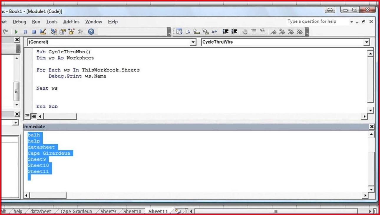 Access Vba For Each Worksheet