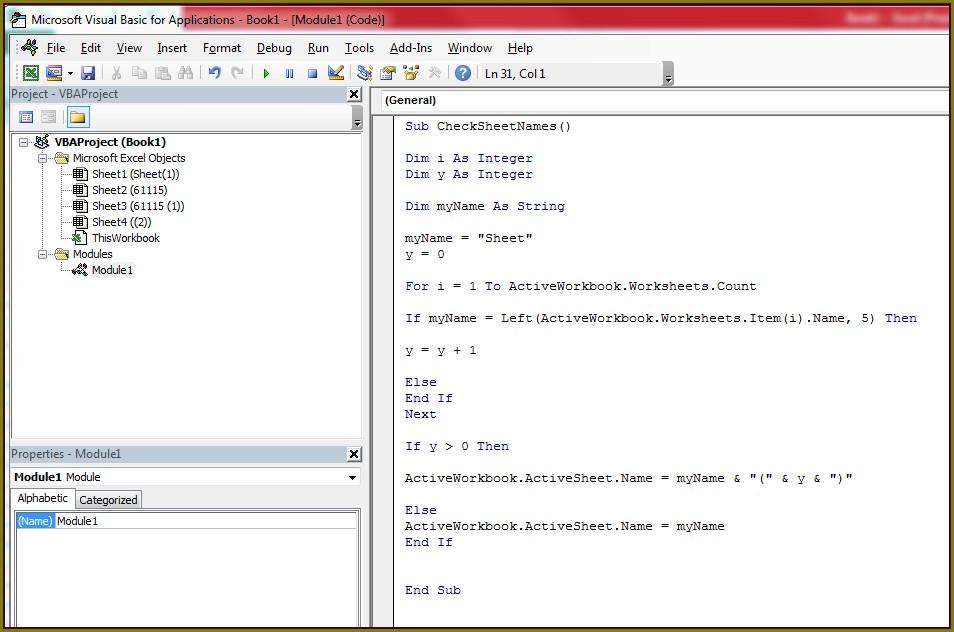 Active Worksheet Name Excel Vba