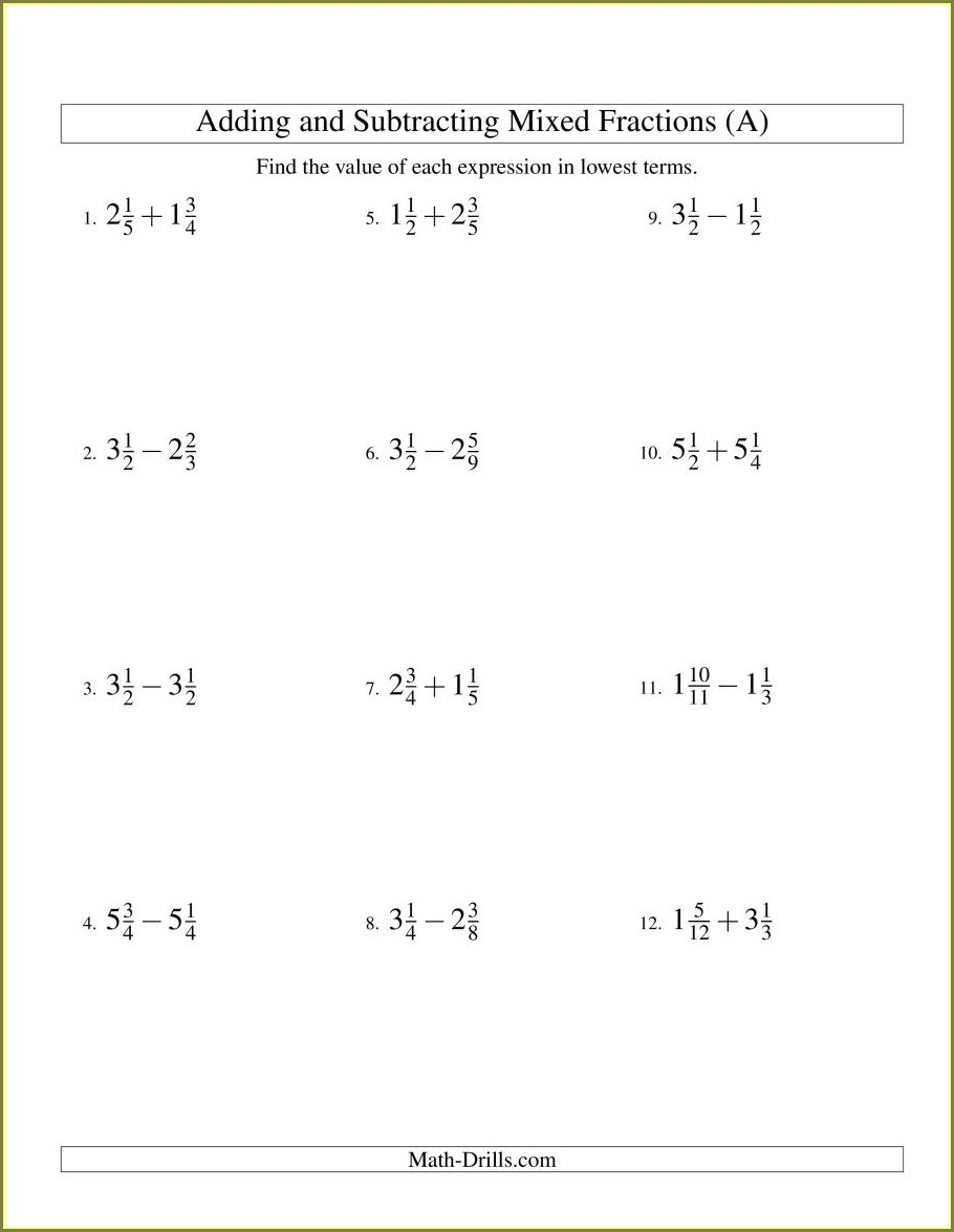 Add Mixed Numbers With Unlike Denominators Worksheet