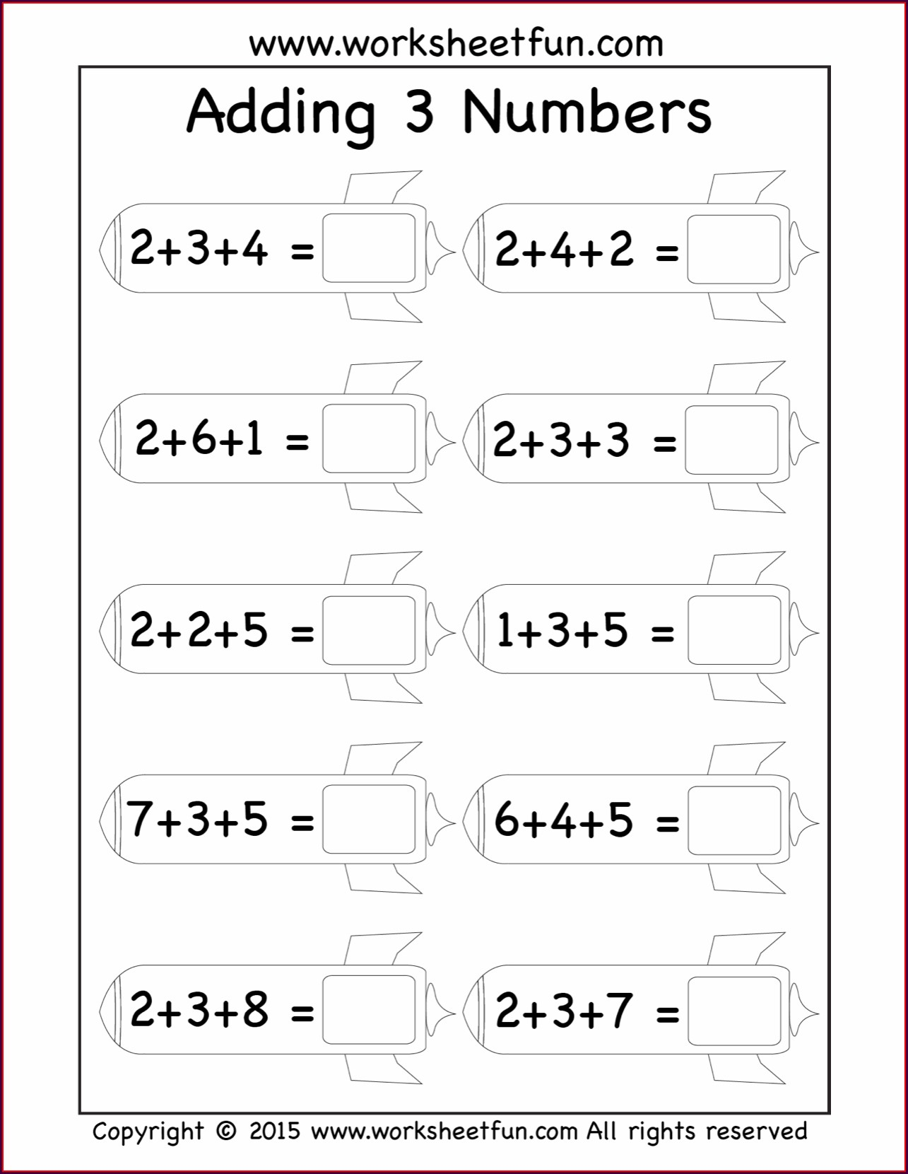 Adding 3 Numbers First Grade Free Worksheets