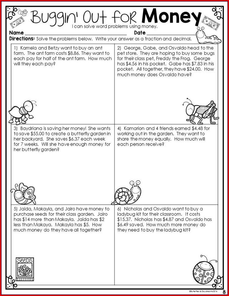 Adding And Subtracting Decimals Word Problems Worksheets Common Core