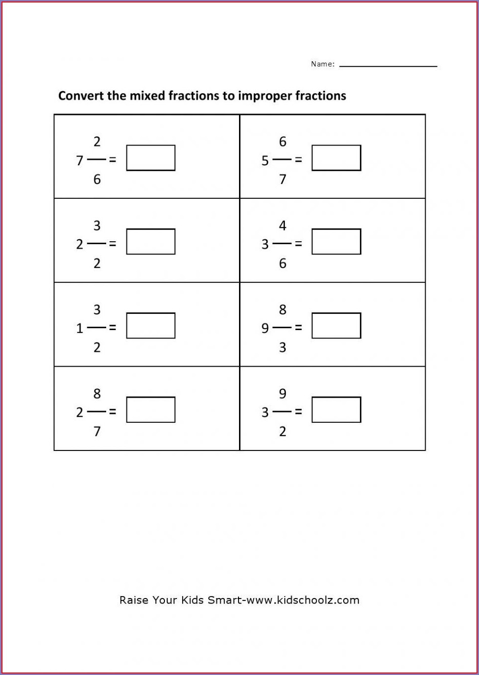 Adding Fractions To Whole Numbers Worksheet