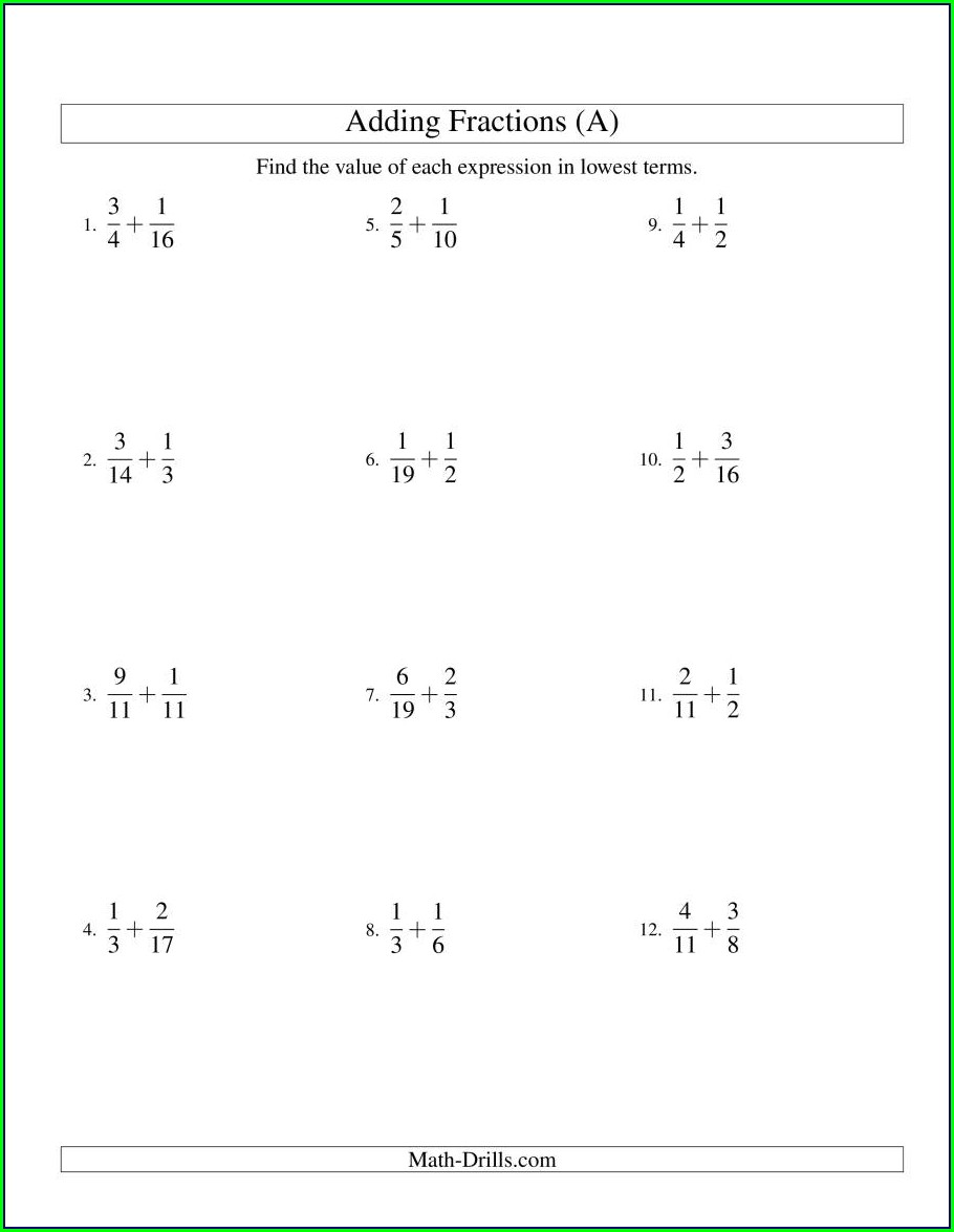 Adding Fractions With Like Denominators Worksheets 5th Grade
