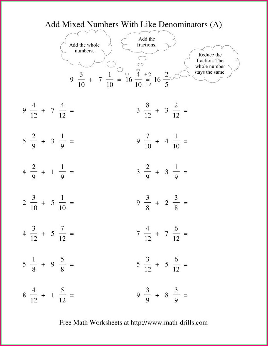 Adding Mixed Numbers With Unlike Denominators Worksheet Pdf