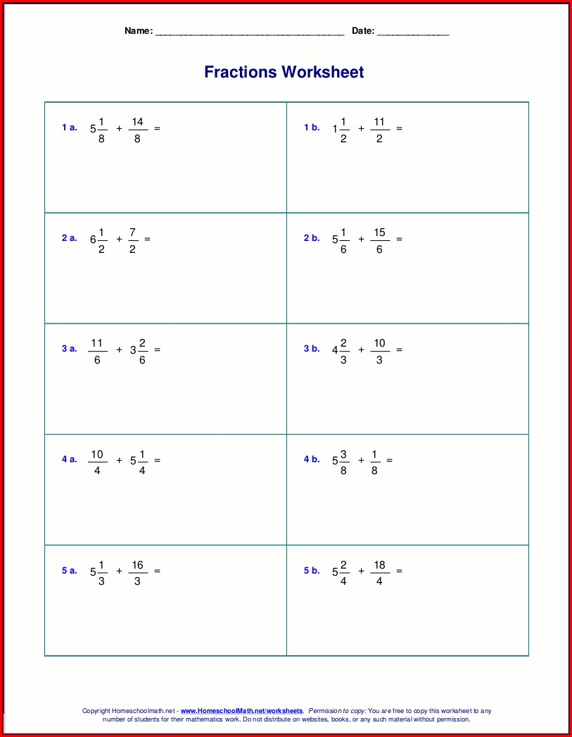 Adding Mixed Numbers Worksheet Vertical