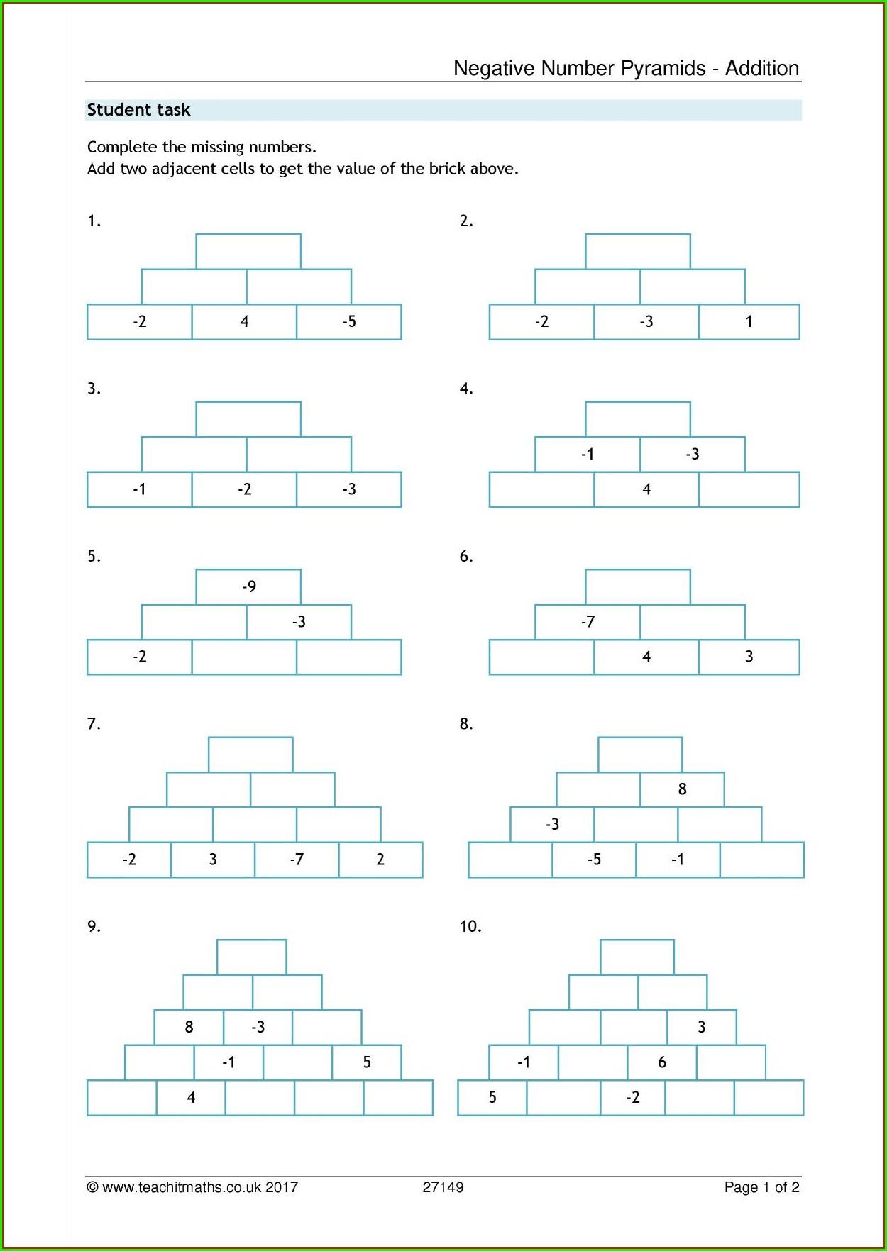 Adding Negative Numbers Worksheet Ks2