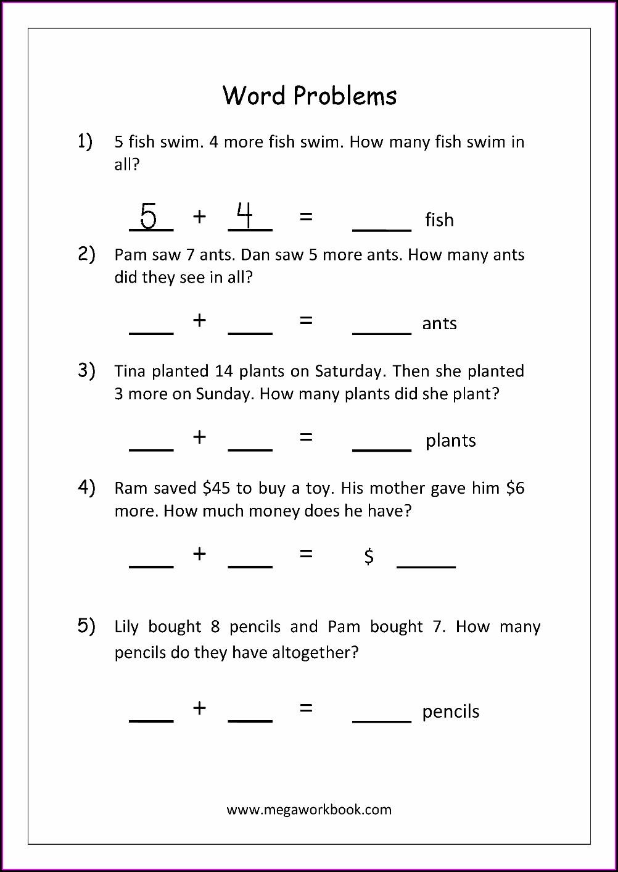 Addition And Subtraction Word Problem Worksheets For Kindergarten