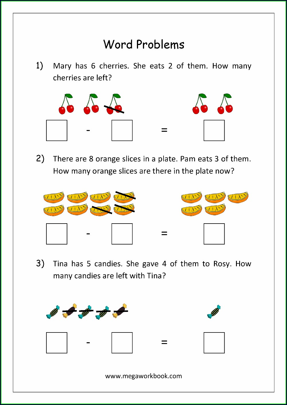 Addition And Subtraction Word Problems Worksheets Grade 1