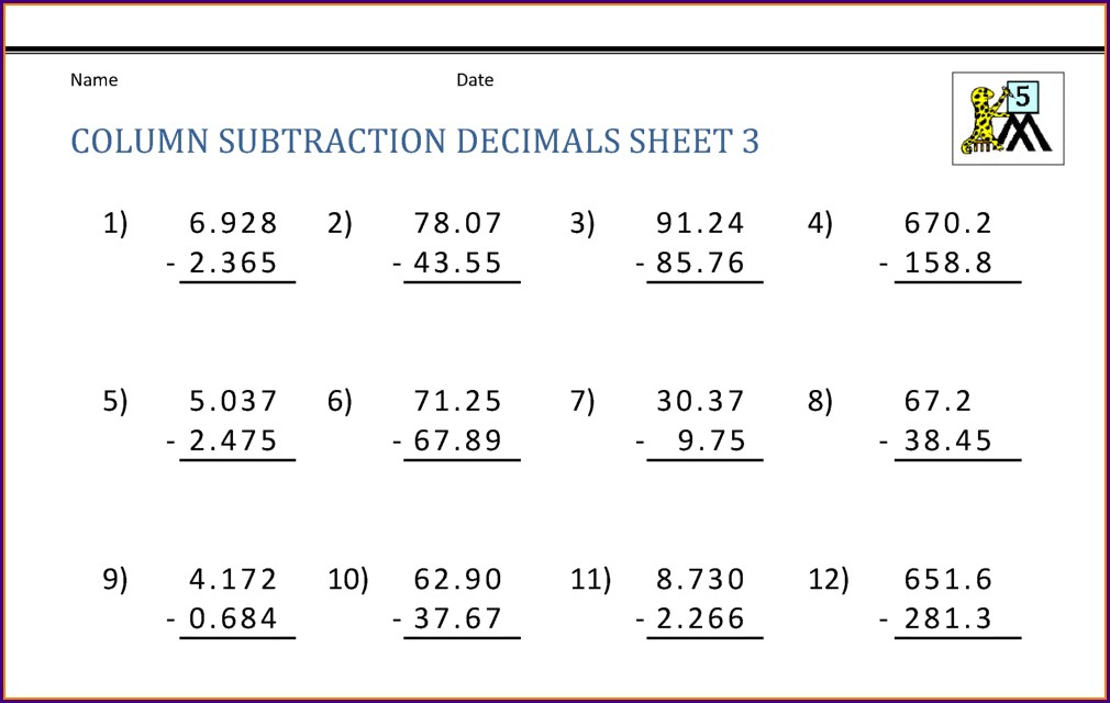 Addition Of Decimals Worksheets For Grade 5