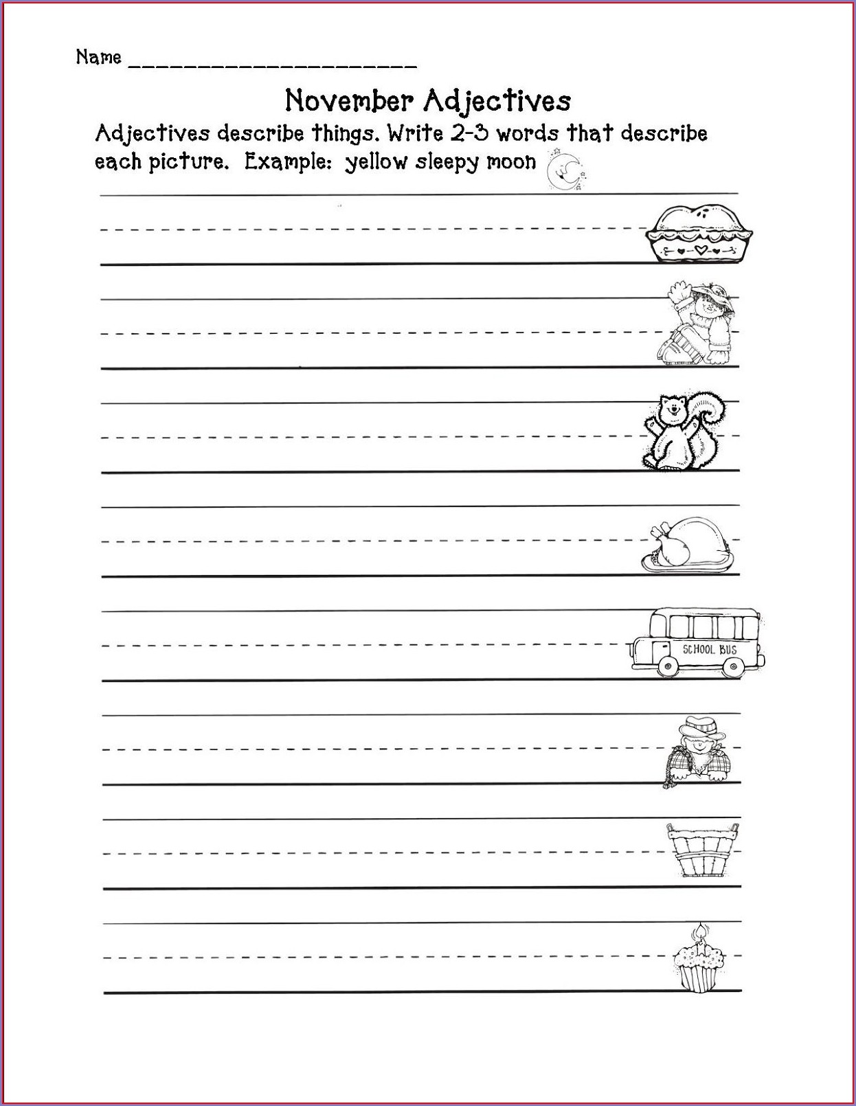 Adjective Worksheet Second Grade
