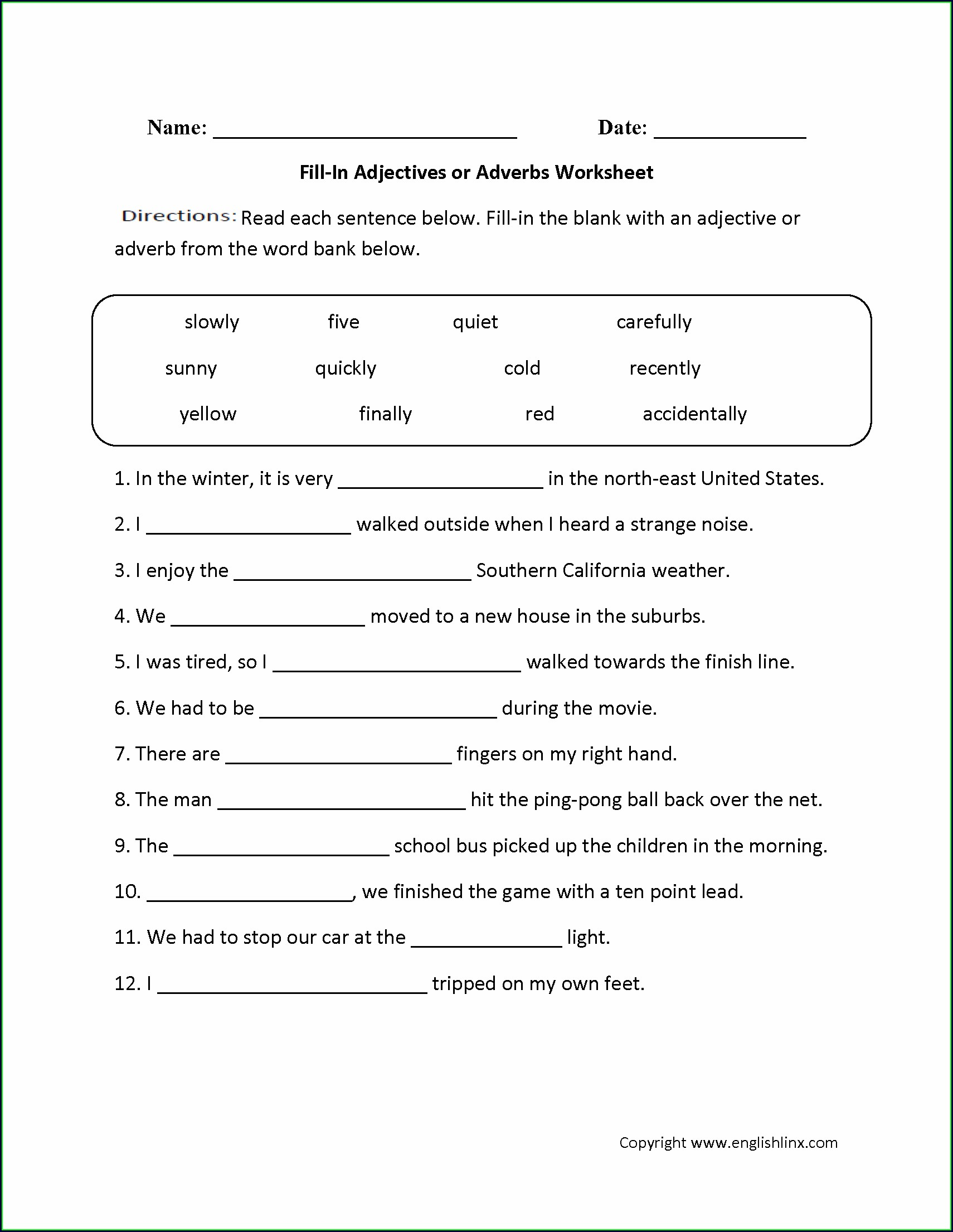 Adjectives And Adverbs Worksheet 4th Grade
