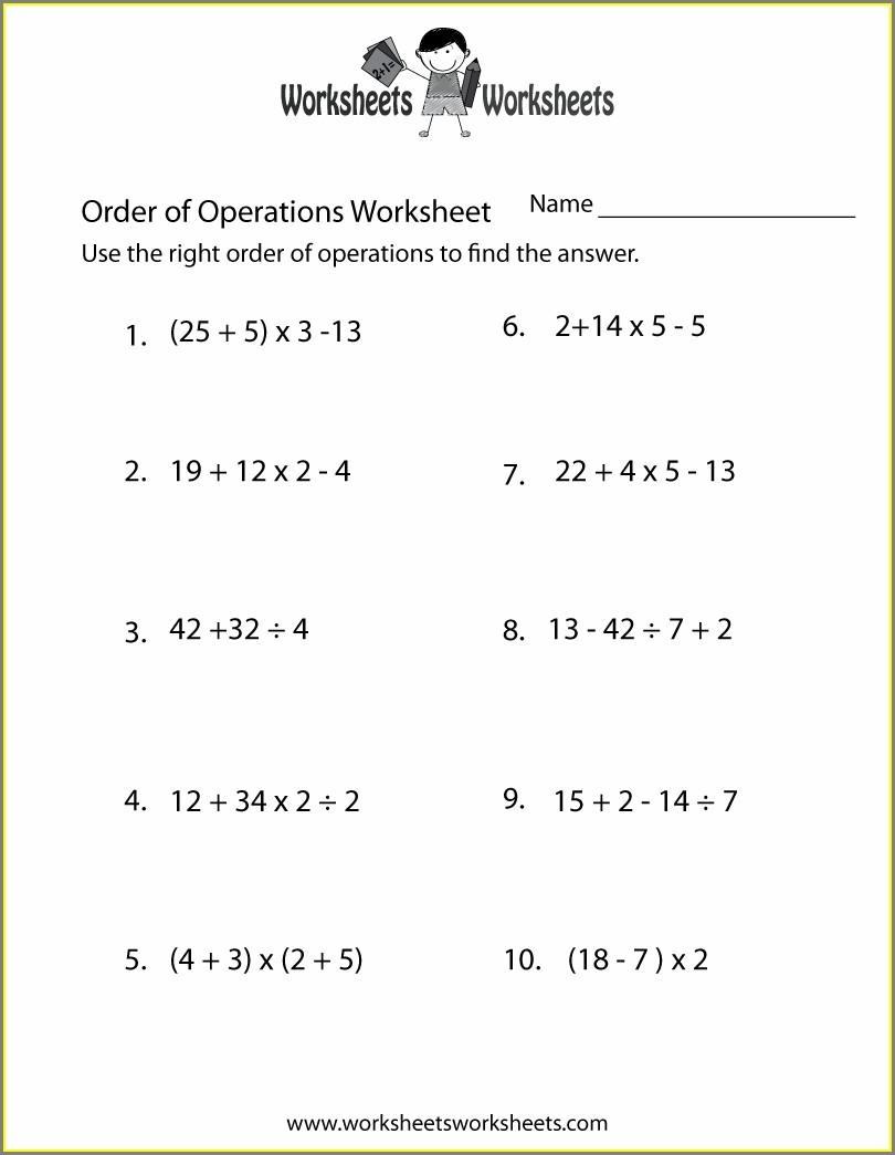 Algebra 1 Order Of Operations Worksheet