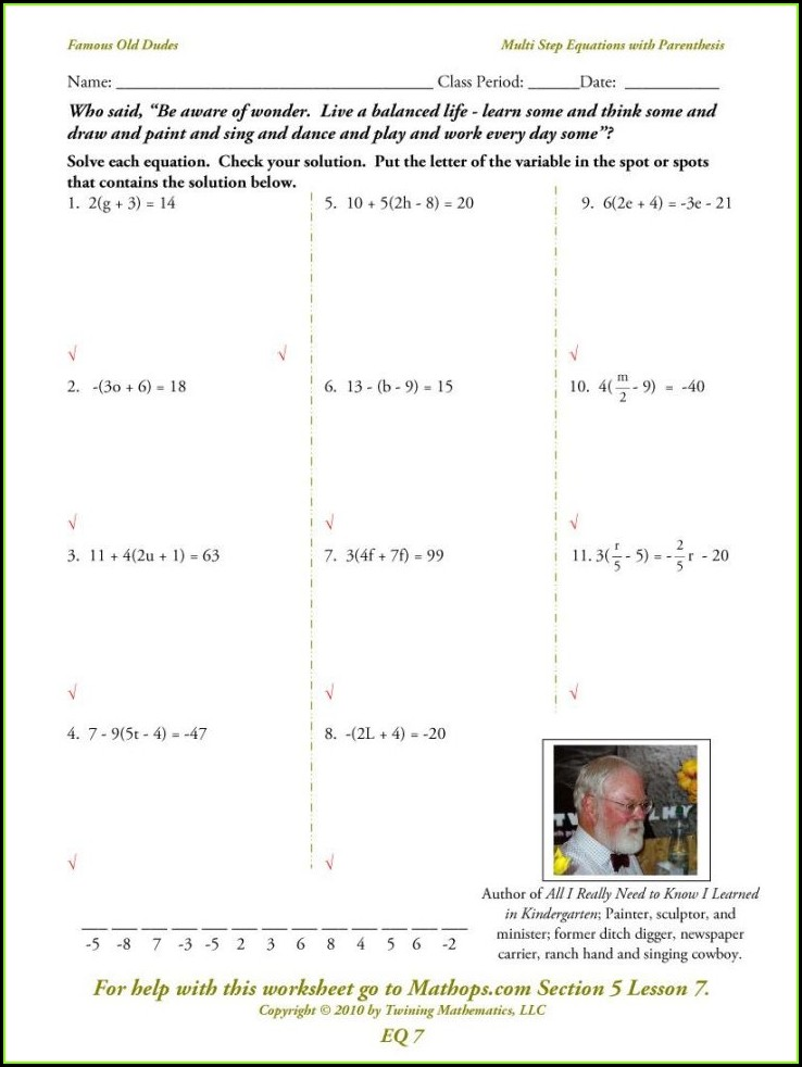 Algebra 7th Grade Inequalities Worksheet