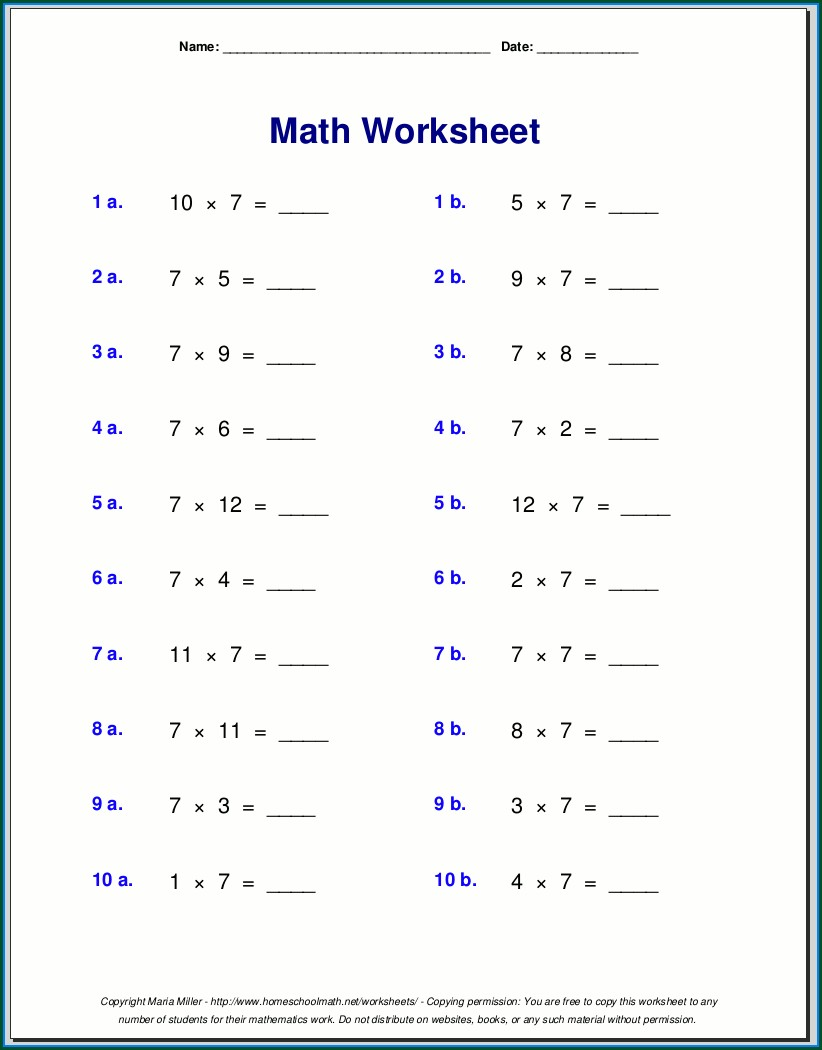 Algebra 7th Grade Math Worksheets Pdf