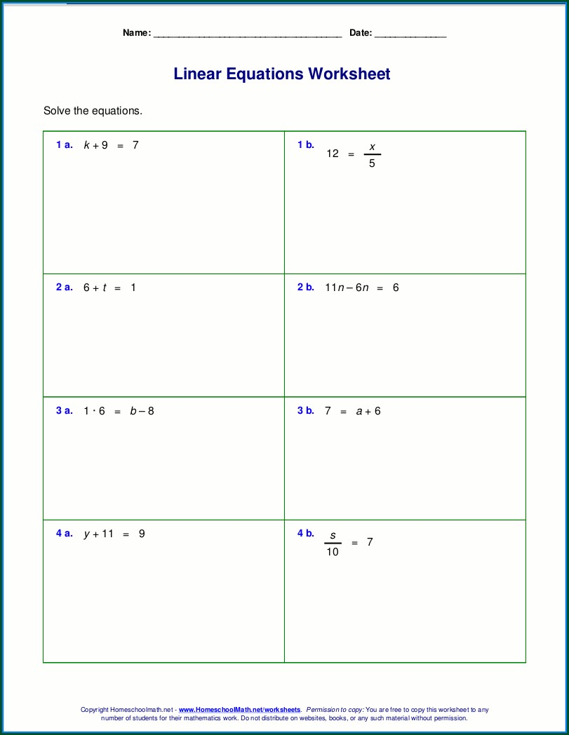 Algebra 7th Grade Math Worksheets