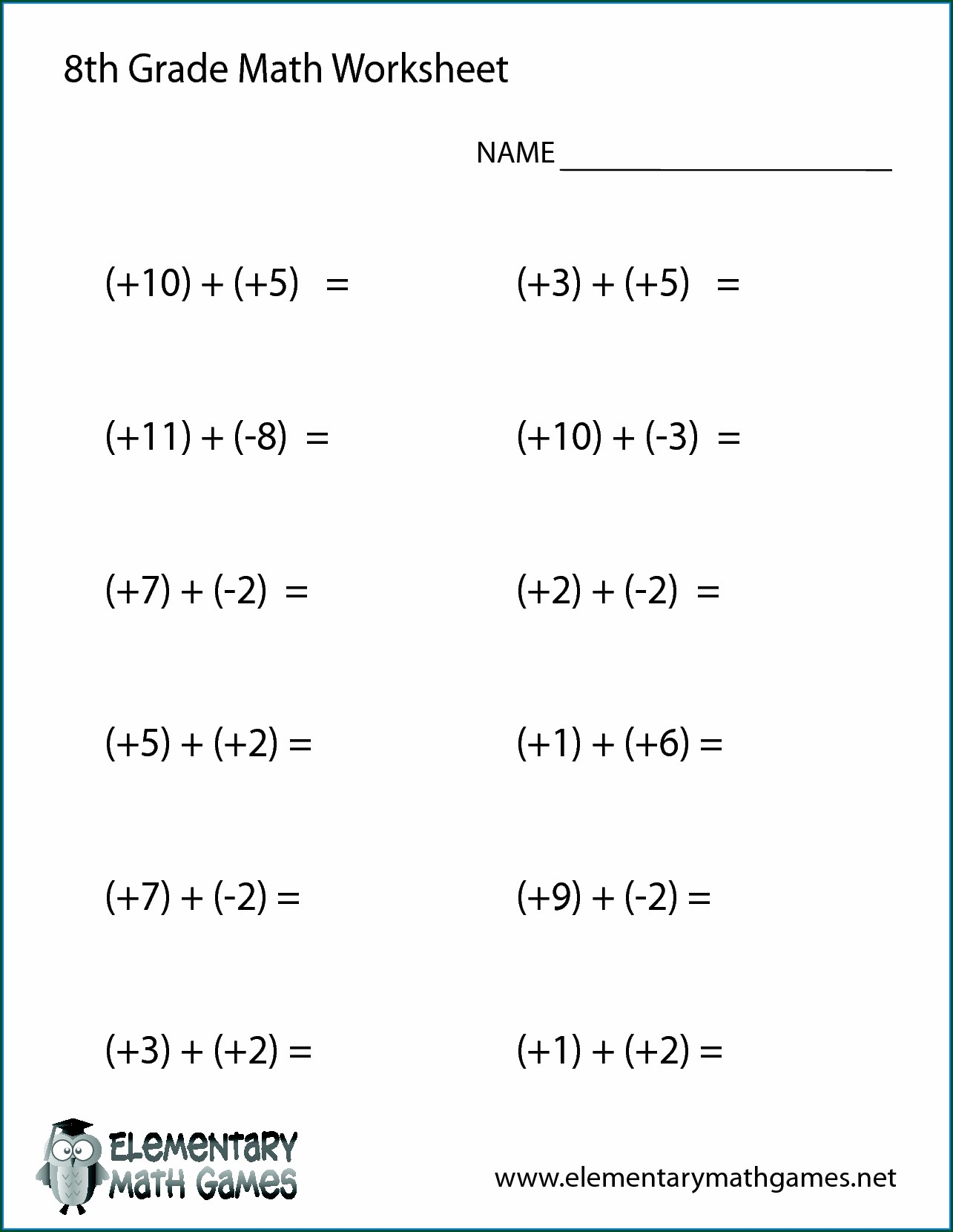 Algebra 8th Grade Math Worksheets With Answer Key
