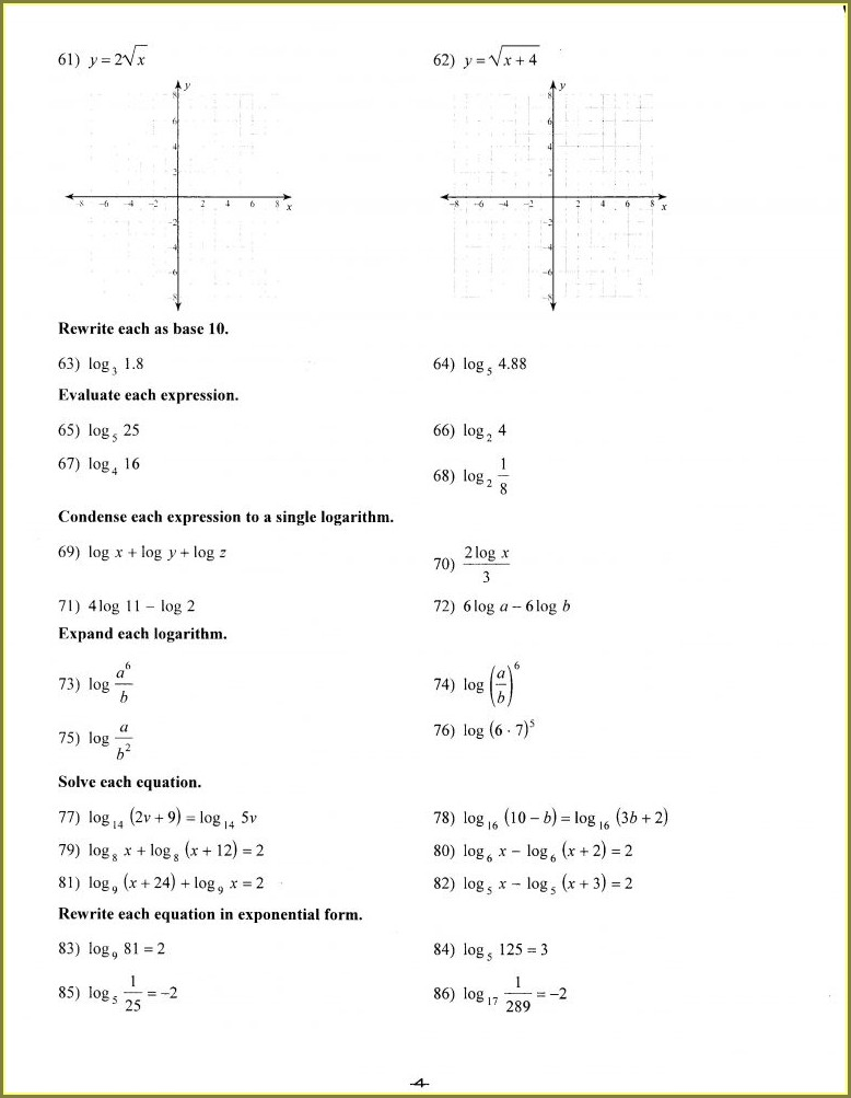 Algebra Math Worksheet For 9th Grade