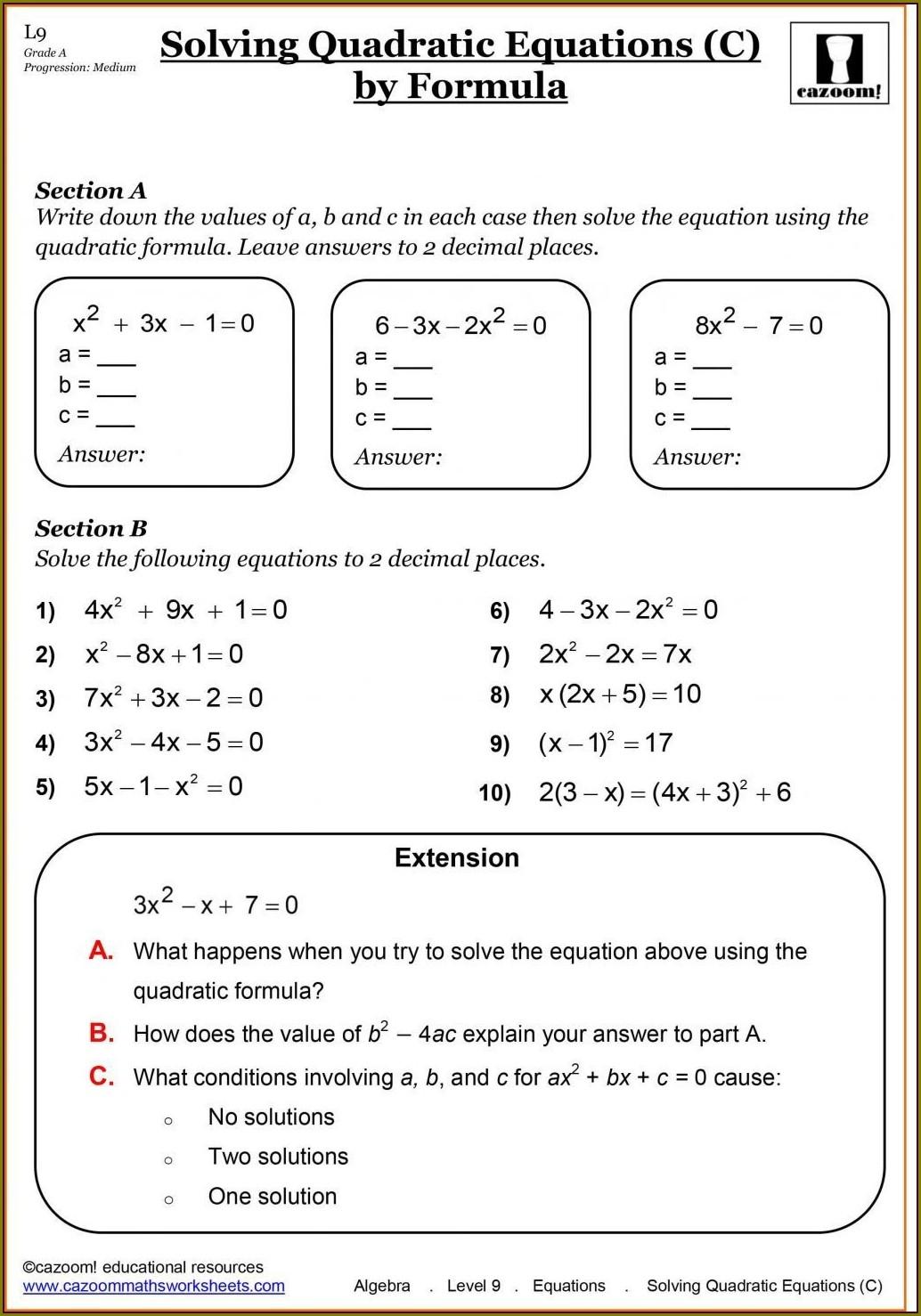 Algebra Math Worksheet Year 7